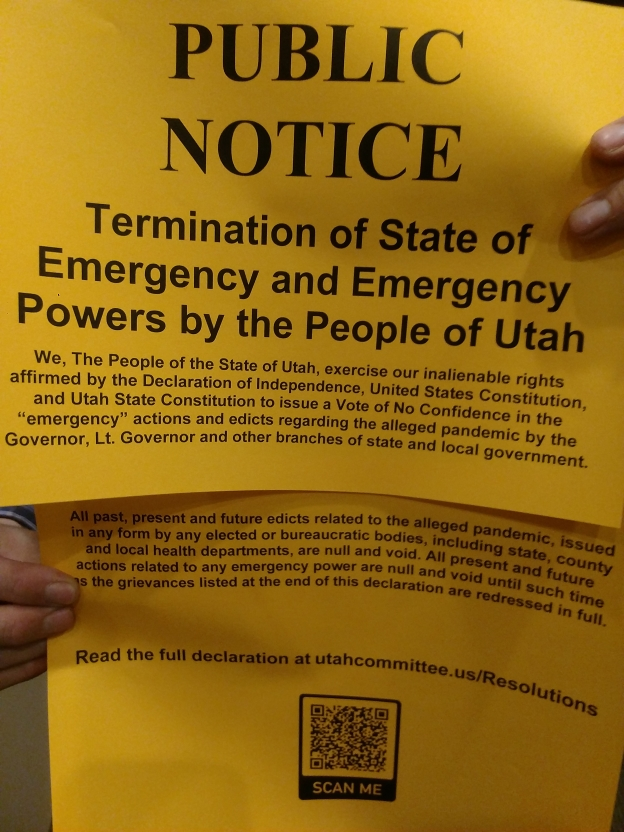 Public notice of the declaration, Utah Sep 12 Termination Day, Termination of State of Emergency and Emergency Powers