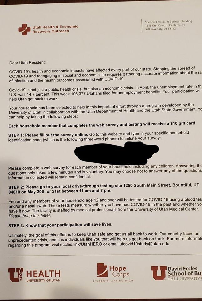 Utah HERO Contact Tracing Letter