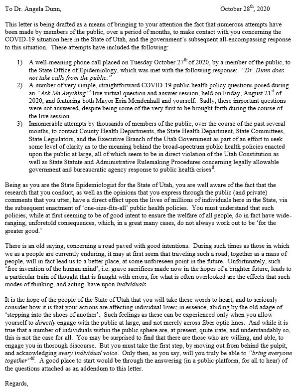 Letter to Dr. Dunn part 1