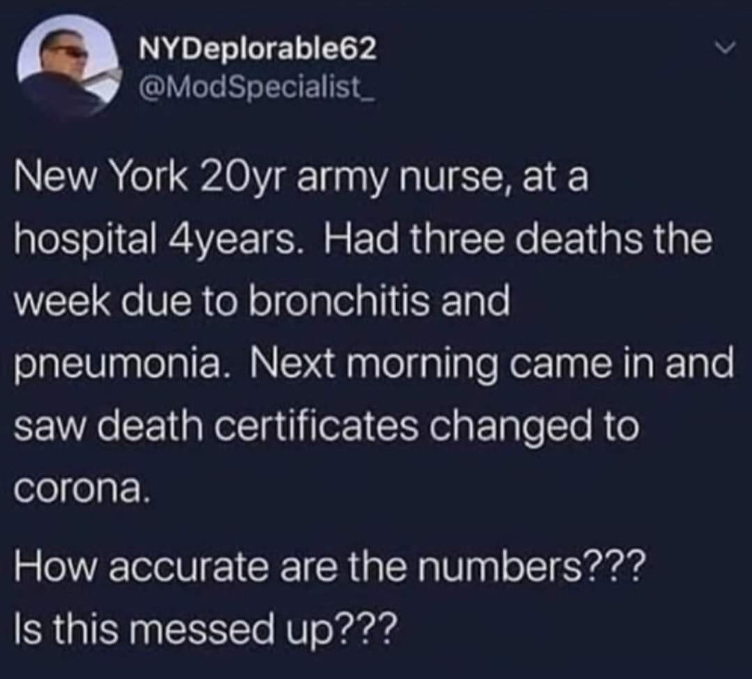 New York Nurse Says Fake Covid19 deaths reported