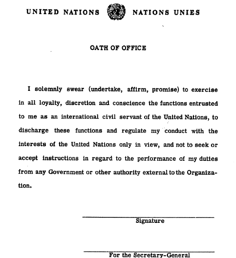United Nations Oath of Office Scan